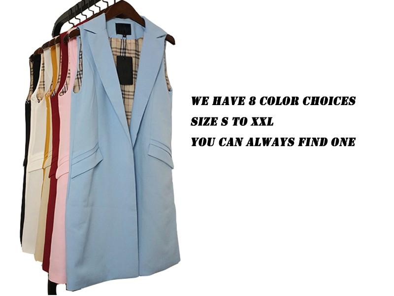 2017 wiosna nowy mody długie kieszenie turn-dół collar otwórz stitch pantone niebieski różowy beżowy czarny żakiet kamizelka bez rękawów kurtki 4