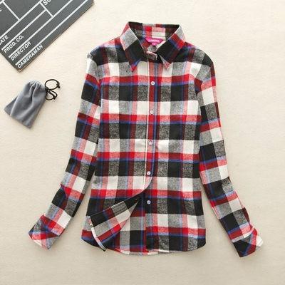 2017 hot sprzedaż jesień zima panie kobieta casual cotton lapel bluzka bluzki z długim rękawem kratę koszula kobiet szczupła odzieży wierzchniej clothing 17