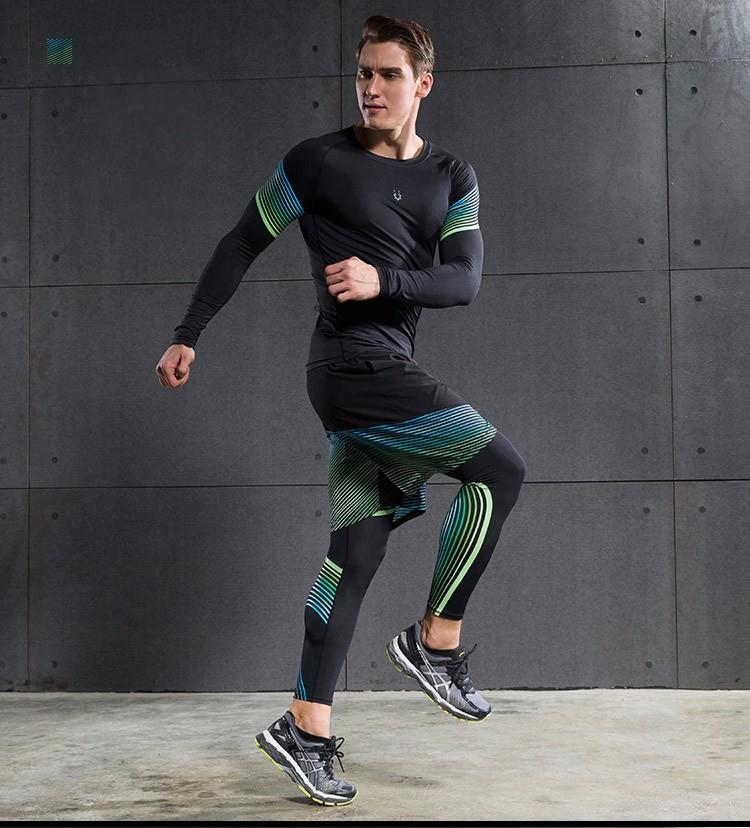 3 Sztuka Zestaw męska sport przebiegu stretch rajstopy legginsy + t shirt + spodenki spodnie treningowe jogging fitness gym kompresji garnitury 29