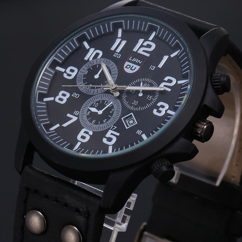 2016 New Business Quartz watch Men sport Zegarki Wojskowe Mężczyźni Corium Skórzanym Paskiem armii zegarek zegar godziny Kompletna Kalendarz 5