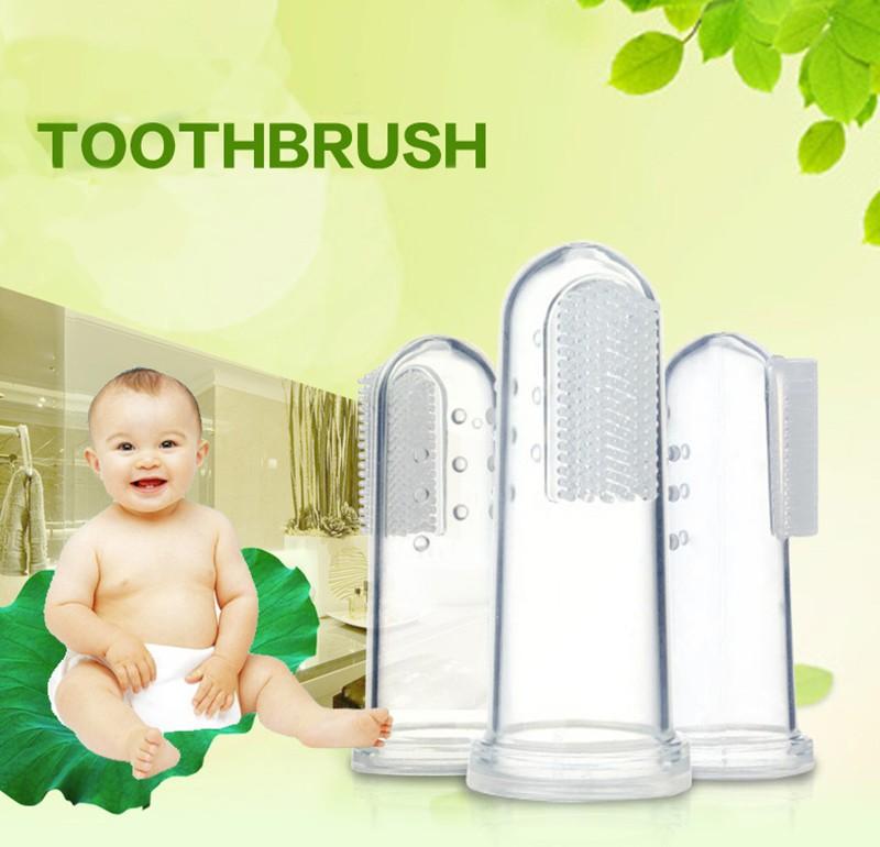 Newbron Pozycji Dziecka Dzieci Opieka Stomatologiczna Gum Zęby Wyczyść Masażu Miękkie Silikonowe Dla Niemowląt Palec Szczoteczka Szczotka 2
