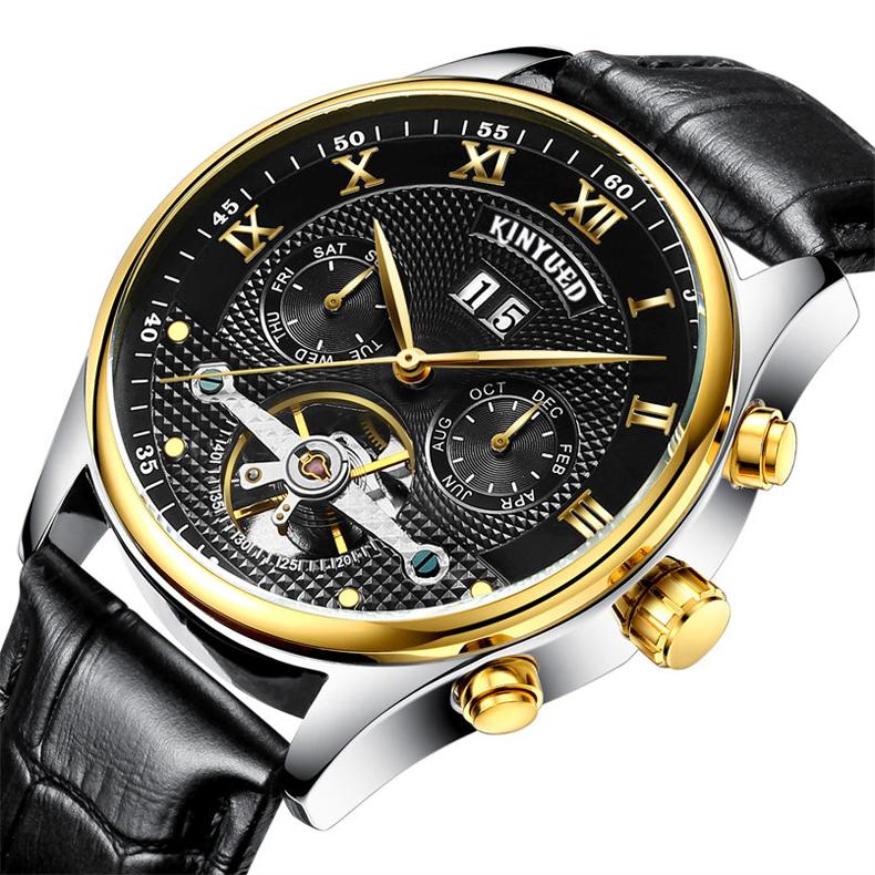 Kinyued Skeleton Watch Mężczyźni Automatyczna Wodoodporna Top Marka Męskie Zegarki Mechaniczne Skóry Kalendarza Złota Róża Relógio Masculino 5