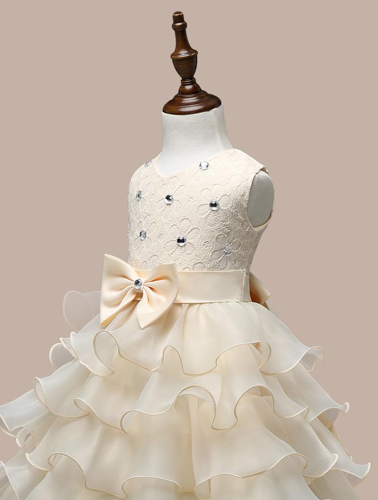 0-7 Years Mutlti Layer White Pink Flower Girl Dress 6