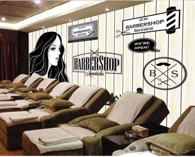 Europejskie i amerykańskie retro drewno fryzjer sklep sklep kosmetyczny duży mural tapety 3d tapety sypialnia salon tv stereo 3d 15