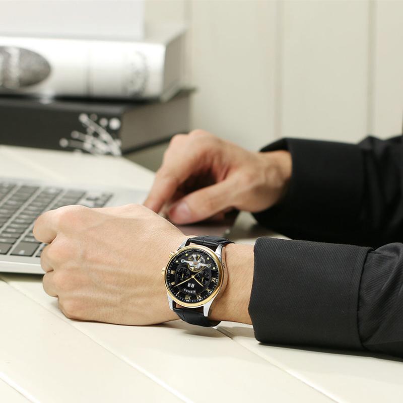 Kinyued Skeleton Watch Mężczyźni Automatyczna Wodoodporna Top Marka Męskie Zegarki Mechaniczne Skóry Kalendarza Złota Róża Relógio Masculino 15