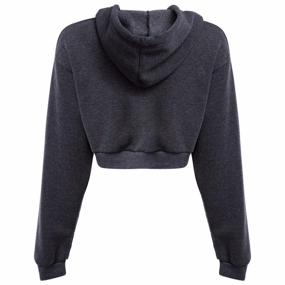 AZULINA Dorywczo Szary Czarny Bluzy Swetry Kobiet Bluza Zima Sexy Szary Krótki Crop Przycięte Dres Z Kapturem dla Kobiet 12