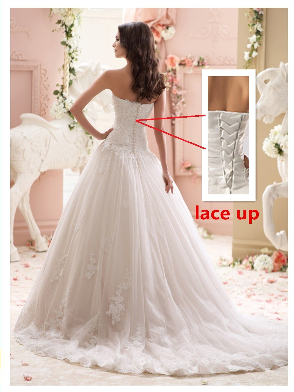 Elegant a line sweetheart appliqued tulle lace wedding for Wedding dress shops in dc