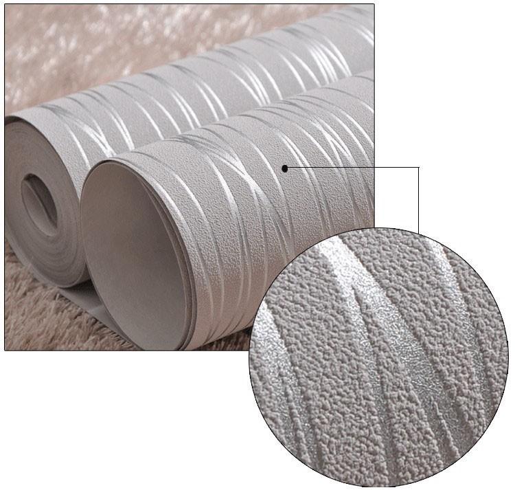 Włókniny Mody Cienkie Pionowe Paski Uciekają Tapety Do Salonu Sofa Tle Ściany Domu Tapety 3D Szary Srebrny 4