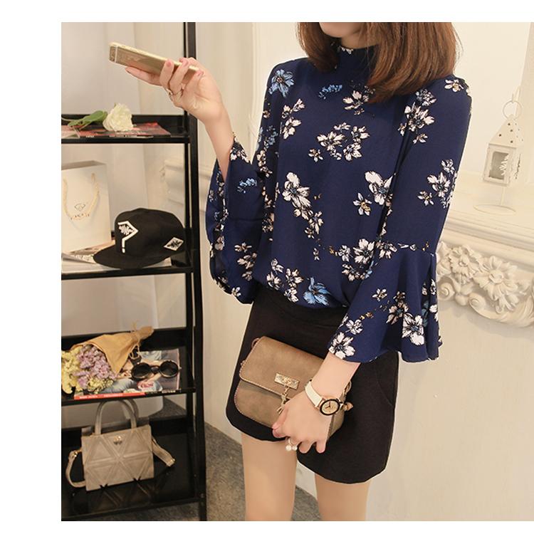 2016 jesień kwiatowy flare rękawem koszula szyfonowa bluzka kobiet topy kobiety biuro panie bluzka koreański fashion blusas chemise femme 3