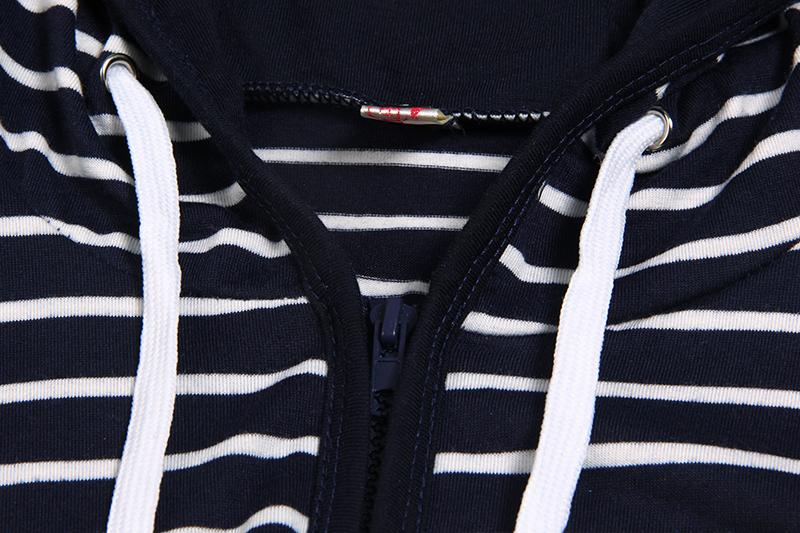 Moda damska Stripes Casual Zipper Bluzy Z Kapturem Kieszeni Kobiety Bluza Plus Rozmiar S-5XL LJ7847R 6