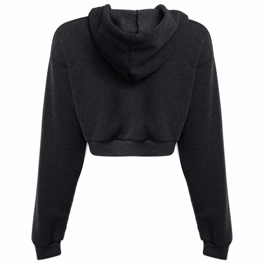 AZULINA Dorywczo Szary Czarny Bluzy Swetry Kobiet Bluza Zima Sexy Szary Krótki Crop Przycięte Dres Z Kapturem dla Kobiet 10
