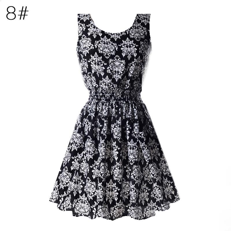 Sexy kobiety chiffon dress sundress plaża floral bez rękawów tank mini sukienki vestido 10