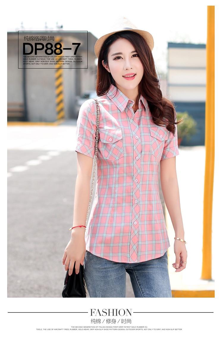 Brand New 2017 Lato Styl Plaid Drukuj Krótki Rękaw Koszule kobiety Plus Rozmiar Bluzki Na Co Dzień 100% Bawełna Topy Blusas 14 kolory 22
