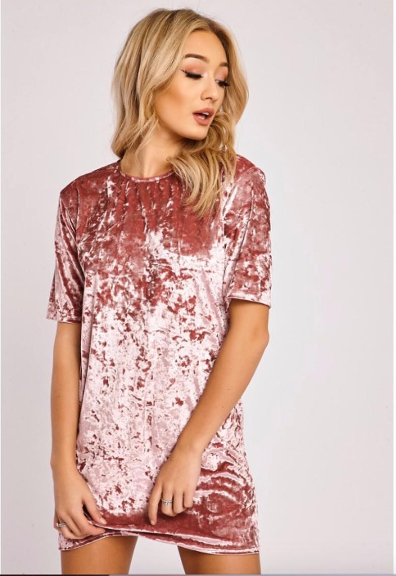 Short Sleeve Velvet Short Casual Dress 2
