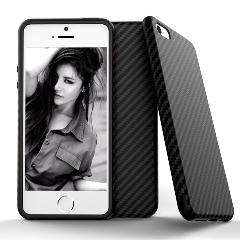 Luksusowe Elegent Wysokiej Jakości Włókna Węglowego Miękki Futerał Dla iPhone 5 5S SE Skórzana Skóry Tekstury Opon 3D Obrońca Pokrywa Dla iPhone SE 9