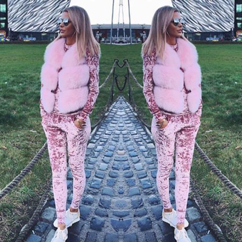 2016 Jesień Zima Moda 2 Sztuka Zestaw Dres Dla Kobiet Spodnie I Dres Sweatsuit Aksamitna 5 Shining Kolory kobiet Garnitur 4