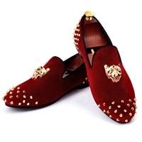Harpelunde Men Rivets Shoes Animal Buckle Dress Shoes Red Velvet Loafers Size 6-14