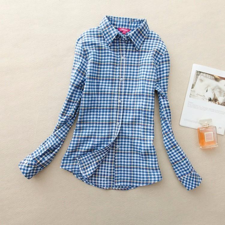2017 hot sprzedaż jesień zima panie kobieta casual cotton lapel bluzka bluzki z długim rękawem kratę koszula kobiet szczupła odzieży wierzchniej clothing 8