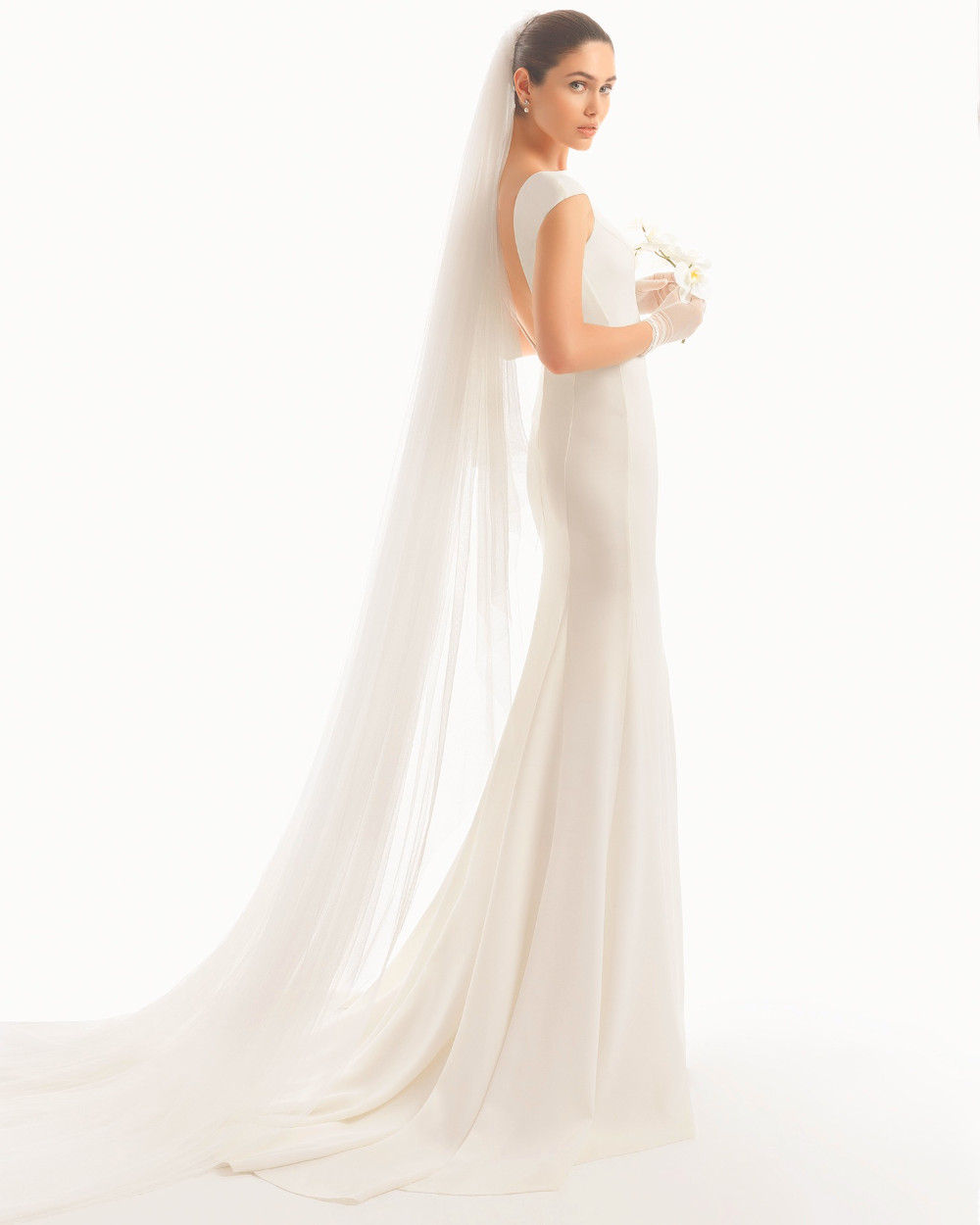 Cathedral Length Wedding Veil With Metal Comb 108 Inch 5