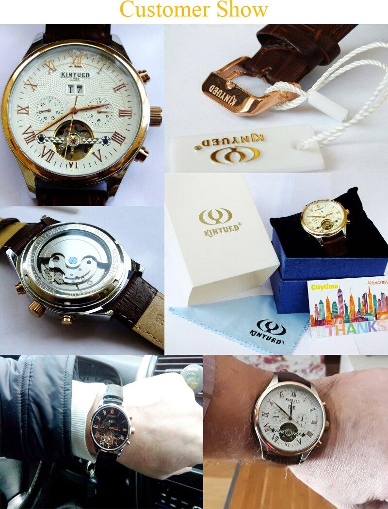 Kinyued Skeleton Watch Mężczyźni Automatyczna Wodoodporna Top Marka Męskie Zegarki Mechaniczne Skóry Kalendarza Złota Róża Relógio Masculino 18
