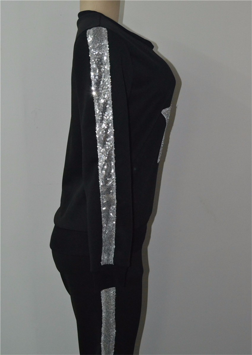 2017 Wiosna Lato Kobiety dresy zestaw 2-częściowy (bluzy + Spodnie) Silver star wzór z długim rękawem Kostium Kobiety Garnitur Zestaw 13