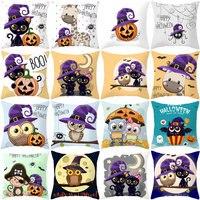 YWZN Halloween Pillow Case Halloween Pumpkin Owl Decorative Pillowcase Halloween Printing Throw Pillow Case kussensloop