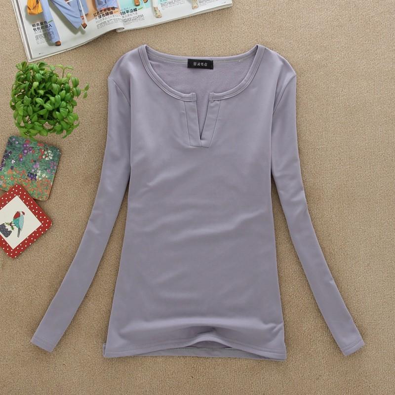 2017 stałe 14 kolory Dekolt Bluzki Sexy Szczupła Dzianiny Długi rękaw chemise femme koreański bluzki dla kobiet koszula clothing góry bluzka 18