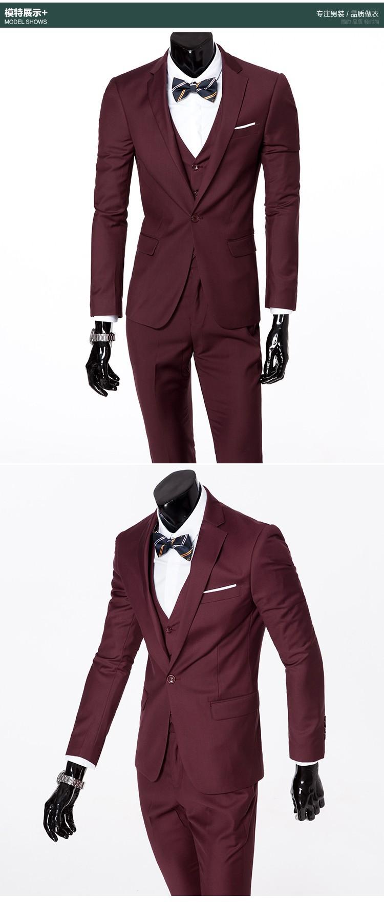 (Kurtka + kamizelka + spodnie) 2017 Nowa wiosna marka koszulka Męska slim fit Firm a trzyczęściowe Garnitury/Męskie dobrej groom dress/mężczyźni Blazers 15