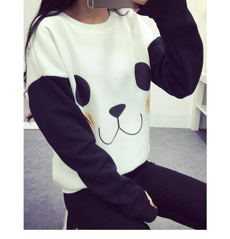 New College Wiatr Kobiety Bluzy Moda Cartoon Panda Bluzy Dorywczo Drukowane Mieszane Kolor Harajuku Dresy Kobiet Sudaderas 4