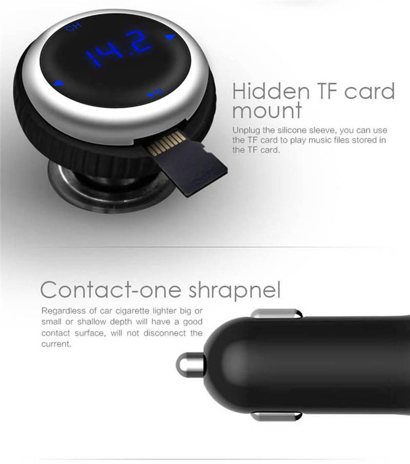 Samochodowy Odtwarzacz MP3 Audio Bluetooth Nadajnik FM Z Pilotem Zestaw Samochodowy Zestaw Głośnomówiący FM Modulator bezprzewodowy Ekran LCD w/TF gniazdo 6