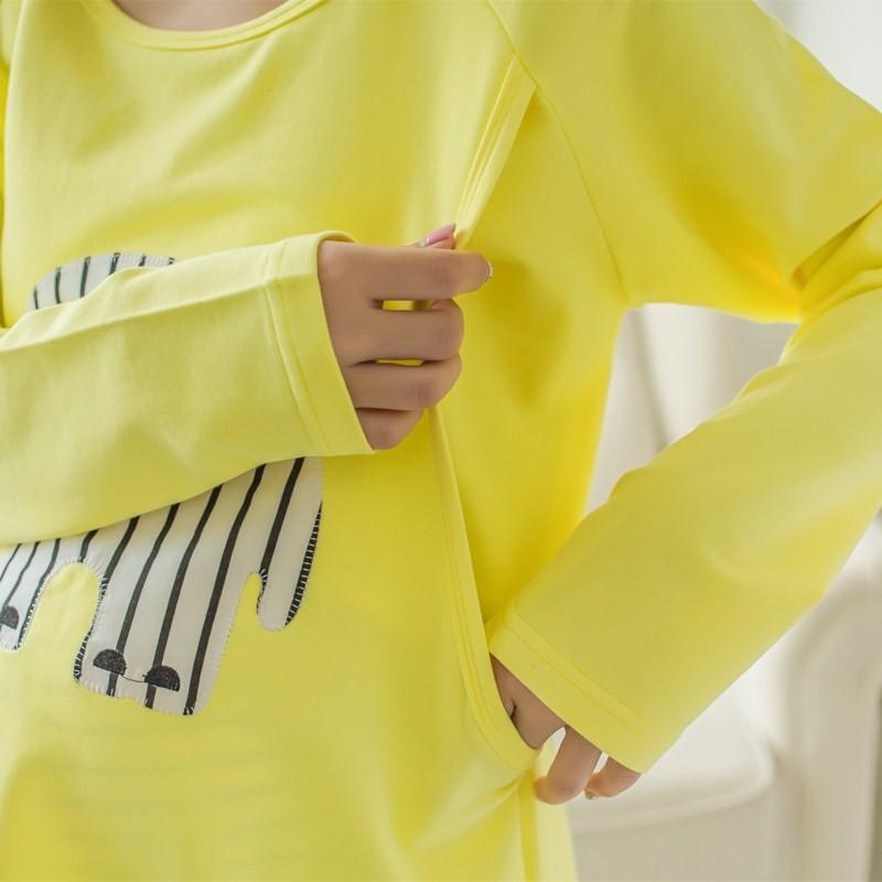 2 sztuk/zestaw Karmienie Piersią Nocna Opieki Macierzyńskiego Mody Macierzyńskiego Ubrania Kreskówki Piżamy Piżamy dla Kobiet W Ciąży 5