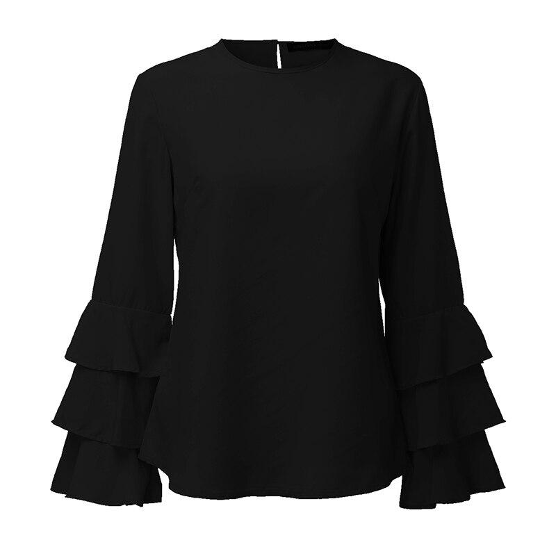 Zanzea kobiety bluzki koszule 2017 jesień eleganckie panie o-neck falbanką długim rękawem stałe blusas casual loose tops 15