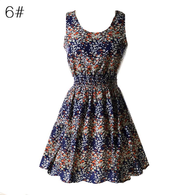 Sexy kobiety chiffon dress sundress plaża floral bez rękawów tank mini sukienki vestido 8
