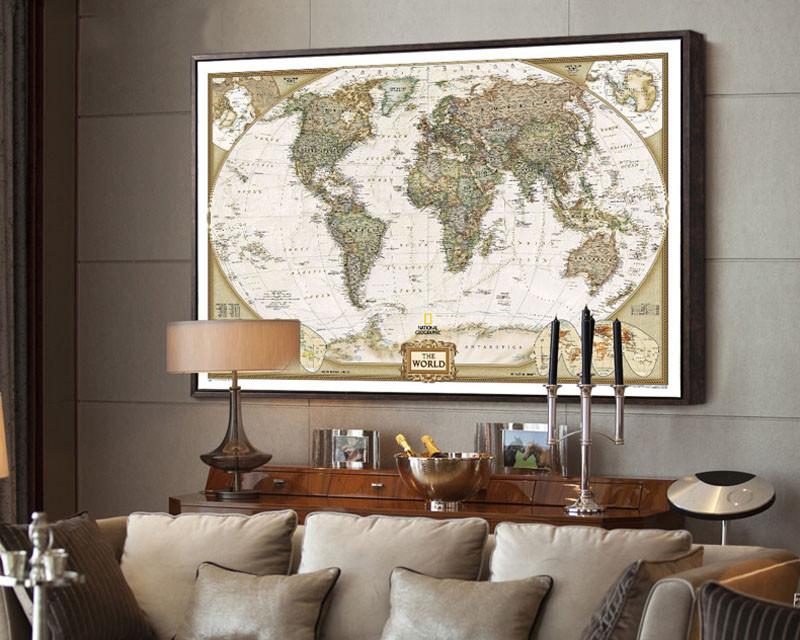 vintage paper world map