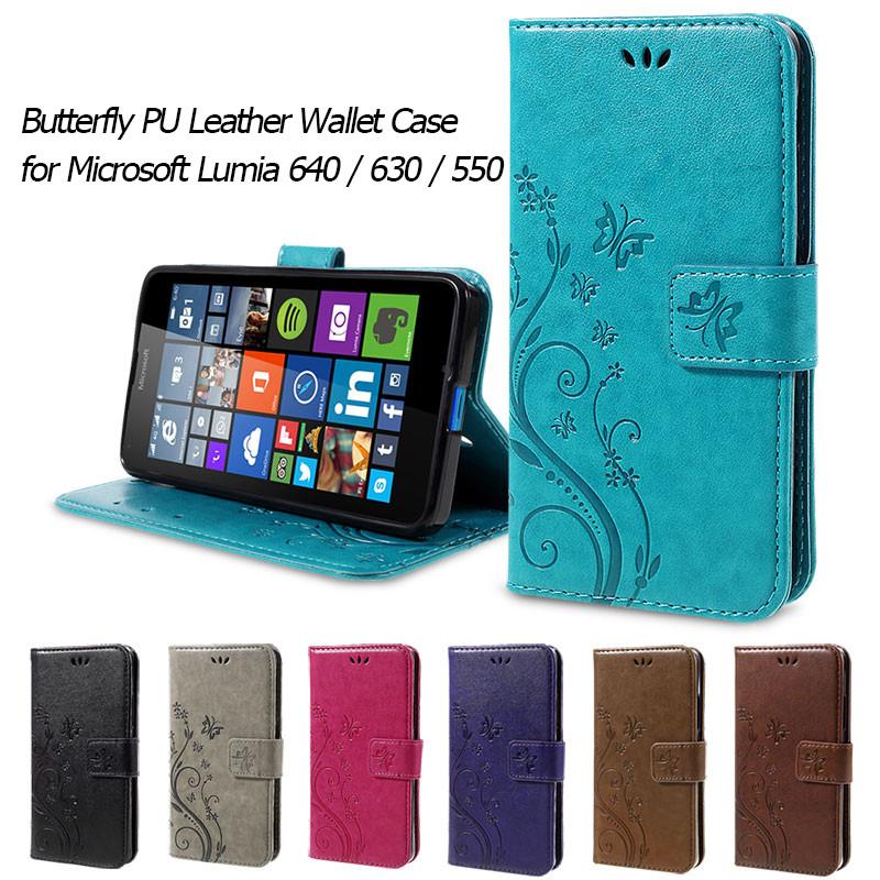 Dla microsoft nokia lumia 640 lumia 630 lumia 550 worek nadrukowane butterfly pu wizytownik skórzany telefon okładka case shell 1