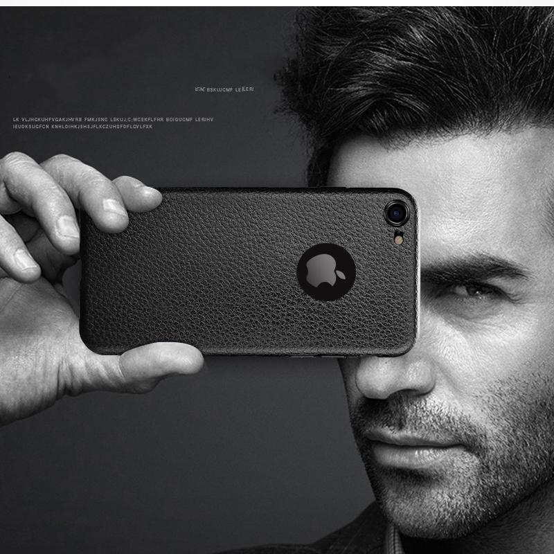 Dla iphone 7 plus iphone 7 case silicon ultracienkich tpu miękka skóra wzór case dla iphone 6 6s plus logo hole back cover czarny 7
