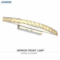 뜨거운 판매 크롬 10 w led 벽 조명 욕실 조명기구에 크리스탈 상단 미러 램프 44 cm 긴 100-240 v ac