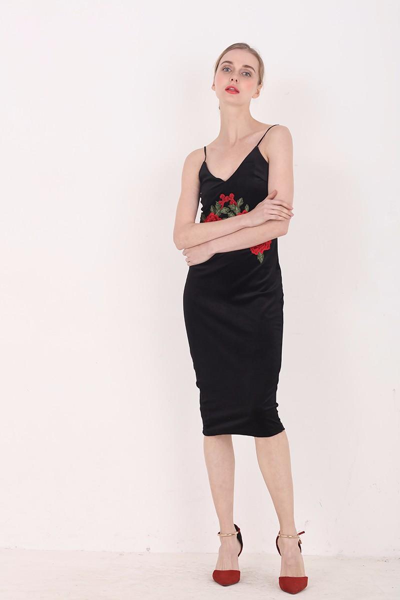 Red Flower Embroidered Black Velvet Shoulder-Straps Bodycon Dress 5