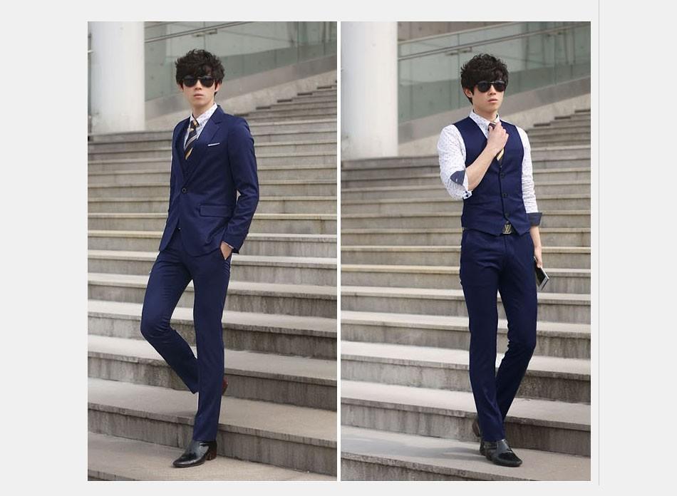 (Kurtka + Spodnie + Tie) luksusowe Mężczyzn Garnitur Mężczyzna Blazers Slim Fit Garnitury Ślubne Dla Mężczyzn Kostium Biznes Formalne Party Niebieski Klasycznej Czerni 16