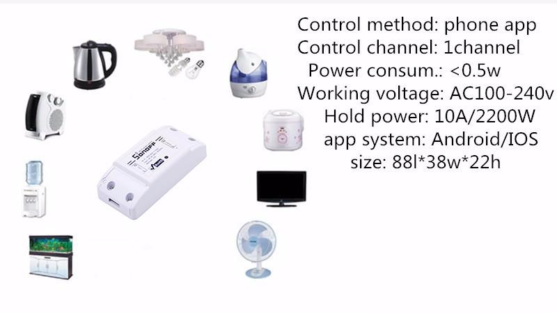 Itead Sonoff Inteligentny Wifi Przełącznik Czasowy Inteligentny Uniwersalny Bezprzewodowy Przełącznik DIY MQTT COAP Android IOS Zdalnego Sterowania Inteligentnego Domu 9