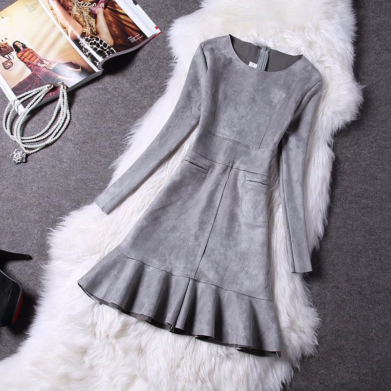 O-Neck Long Sleeve Suede Mini Dress 4