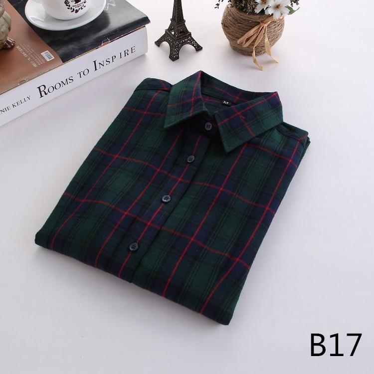 2016 Moda Plaid Shirt Kobiet College style damskie Bluzki Z Długim Rękawem Koszula Flanelowa Plus Rozmiar Bawełna Blusas Biuro topy 34