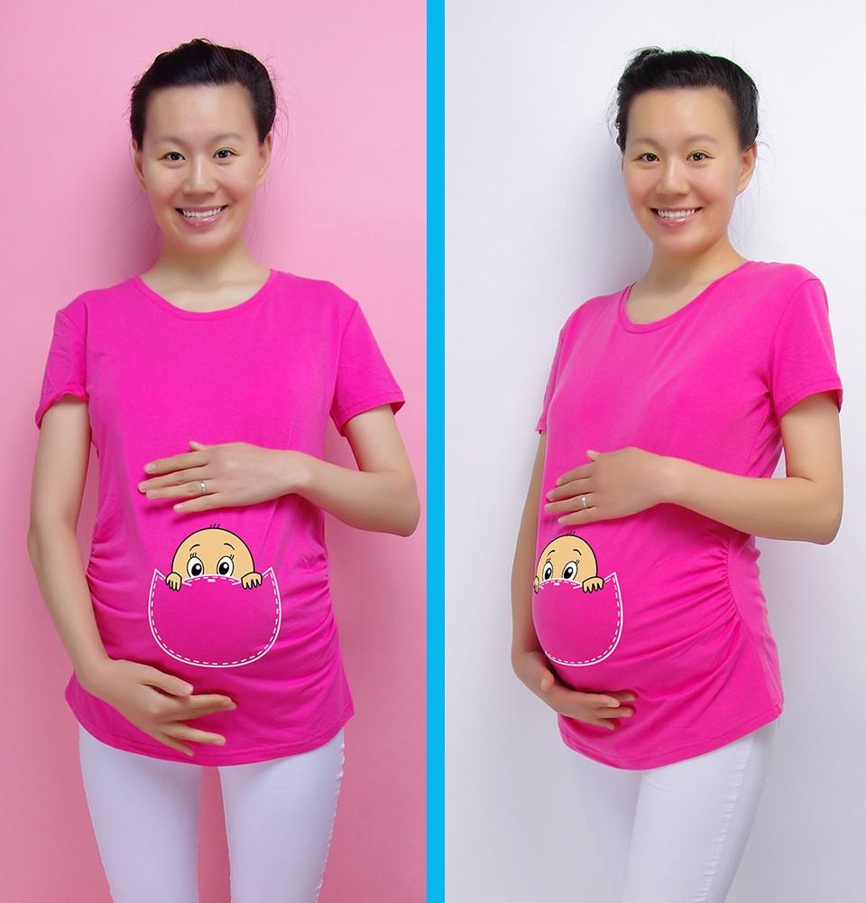 """""""Baby zerkanie out"""" 2016 Nowy Macierzyński Koszula specjalistyczne dla kobiet w ciąży plus rozmiar Europejski duży rozmiar ubrania ciążowe 5"""