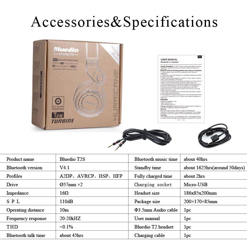 Bluedio t2s oryginalny mikrofon bezprzewodowy zestaw słuchawkowy stereo bluetooth słuchawki bluetooth 4.1 dla iphone samsung xiaomi htc 10