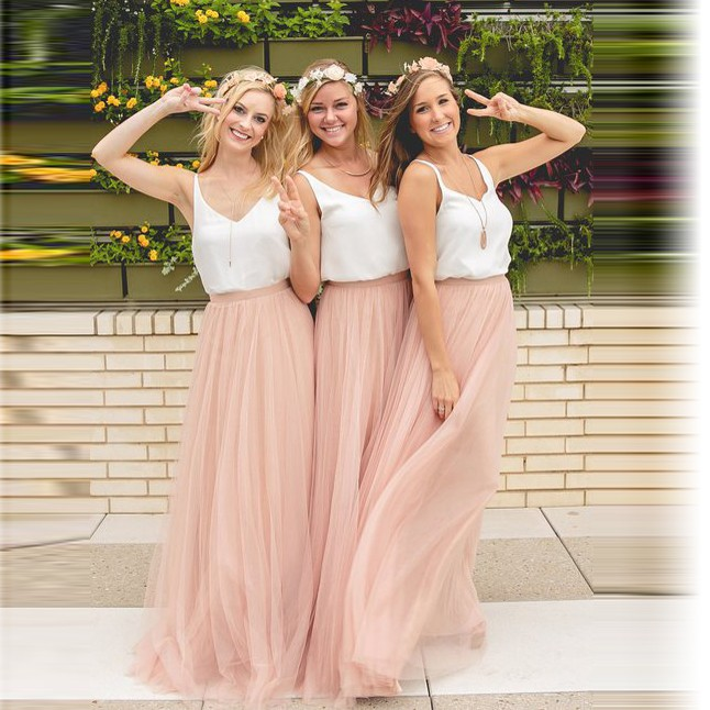Elegant A-Line V-Neck Tulle Skirt Long Bridesmaid Dress 1