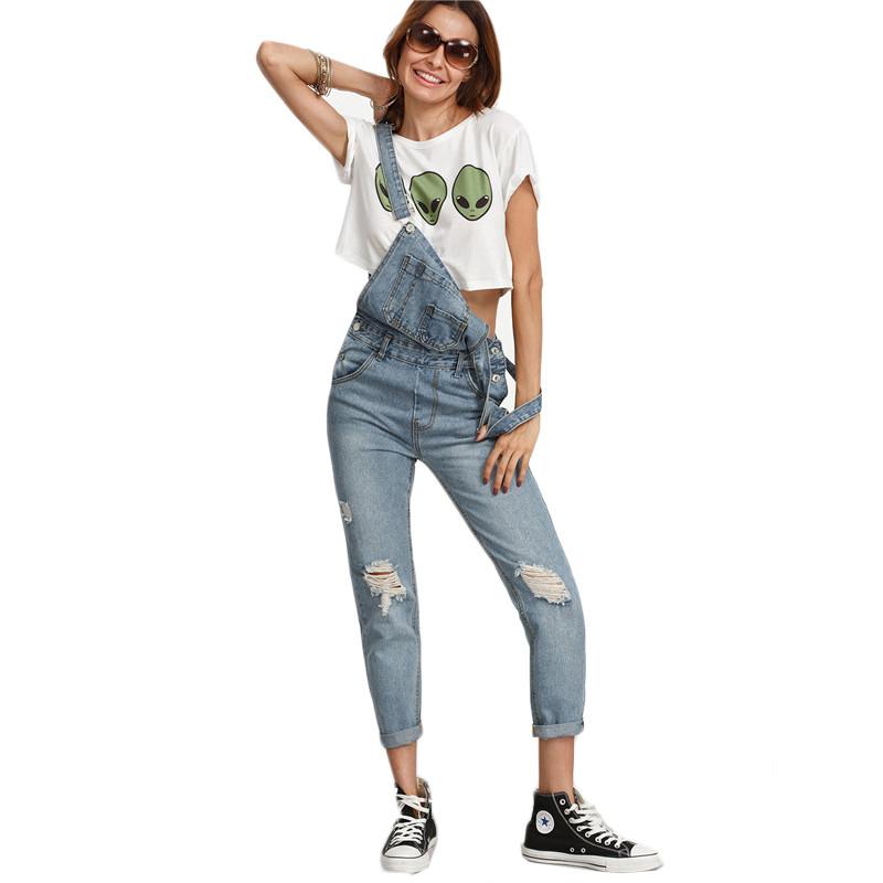 Dotfashion Kamień Wash Denim Ripped Jeans Ogólne Kobiety Śliczne Wear Vintage Kombinezony Bez Rękawów z Kieszeniami 4