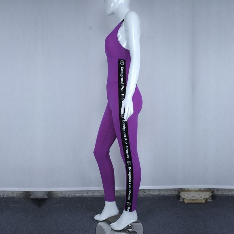 Wysokiej Jakości Centrum Sporting Akrylowe Patchwork Body poprzeczne pasy powrót Playsuit Kombinezon Macacao Kobiet Fioletowy I Szary 10