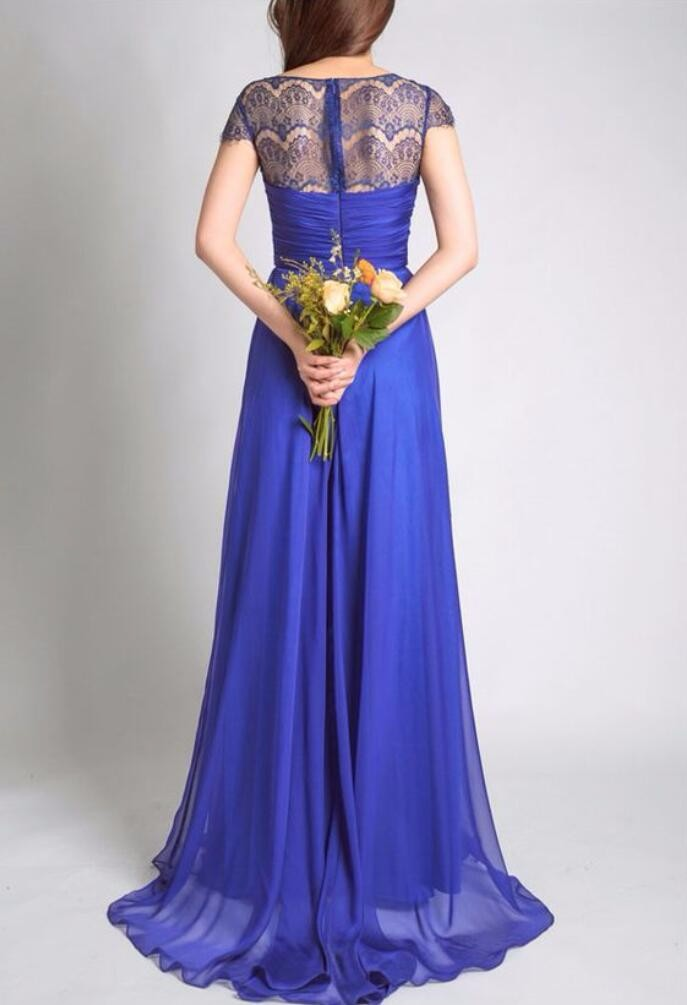 Royal Blue With Cap Sleeves Lace Chiffon A-line Wedding Party Long Bridesmaid Dress 3
