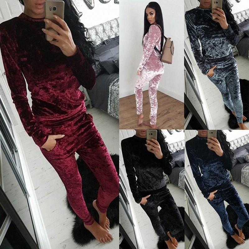 WJ Seksowne Kobiety Dres Ustawia 2017 Nowy Jesień Zima Moda Aksamitne długi Rękaw Bluzy Topy + Spodnie Wąskie Garnitury Femme 2 Sztuka Zestaw 2