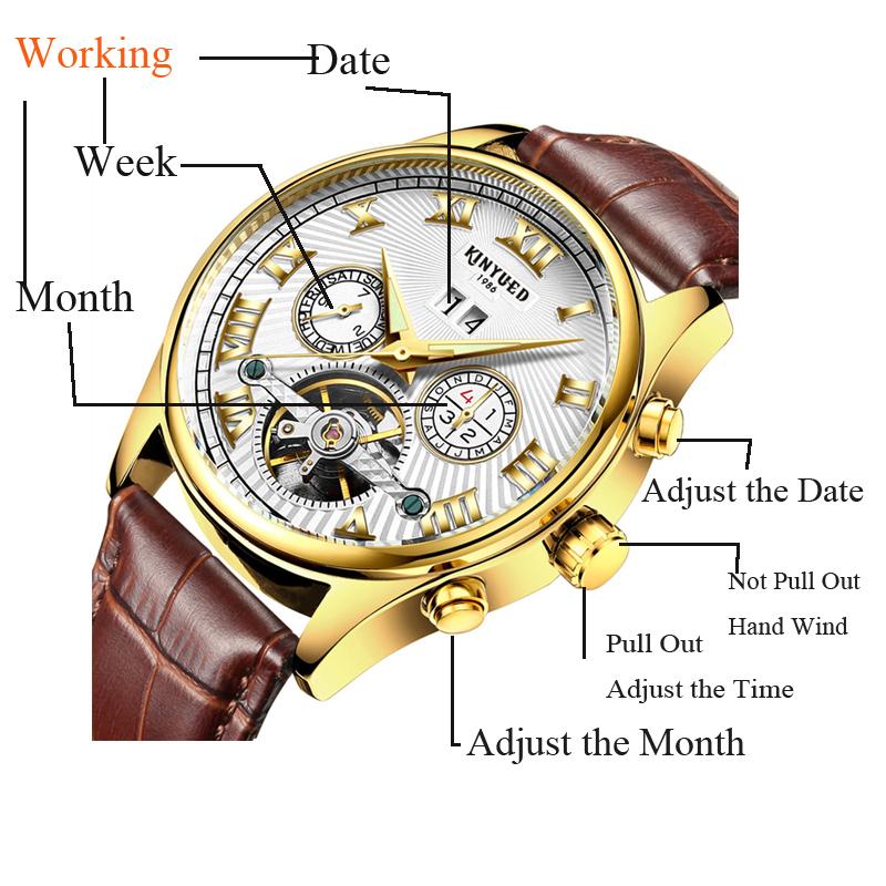 Kinyued Skeleton Watch Mężczyźni Automatyczna Wodoodporna Top Marka Męskie Zegarki Mechaniczne Skóry Kalendarza Złota Róża Relógio Masculino 7